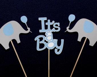 Elephant Centerpiece Blue and Grey It's A Boy Sticks Elephant Baby Shower Table Decoration Elephant Diaper Cake Decorations READY TO SHiP