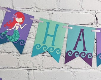 Little Mermaid Birthday Banner Oneder the Sea Party Decoration Personalize Skin Tone & Hair Color Two Size Options for Name or High Chair