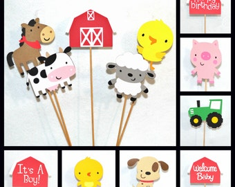 Farm Centerpiece Sticks Diaper Cake Topper Customize Number & KiND all READY to SHiP Old McDonald Birthday Farm Baby Shower Table Decor