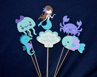 Little Mermaid Birthday Centerpiece Teal & Purple Set Under the Sea Cake Topper Table Decoration READY To SHiP CUSTOM MiX OPTiON AVAiLABLE