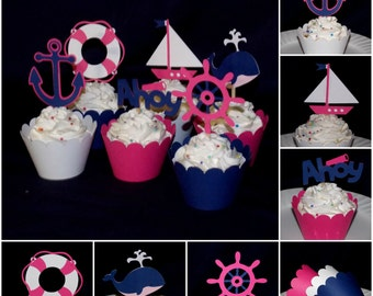 Pink & Navy Nautical Cupcake Topper Sailing Decoration Food Pick Treat Pick Party Pick Birthday Cake Decoration Baby Shower READY TO SHIP