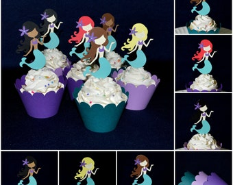 Little Mermaid Cupcake Topper Purple & Teal Under the Sea Cupcake Decoration Food Pick  Birthday Baby Shower Cupcake Wrapper READY TO SHIP