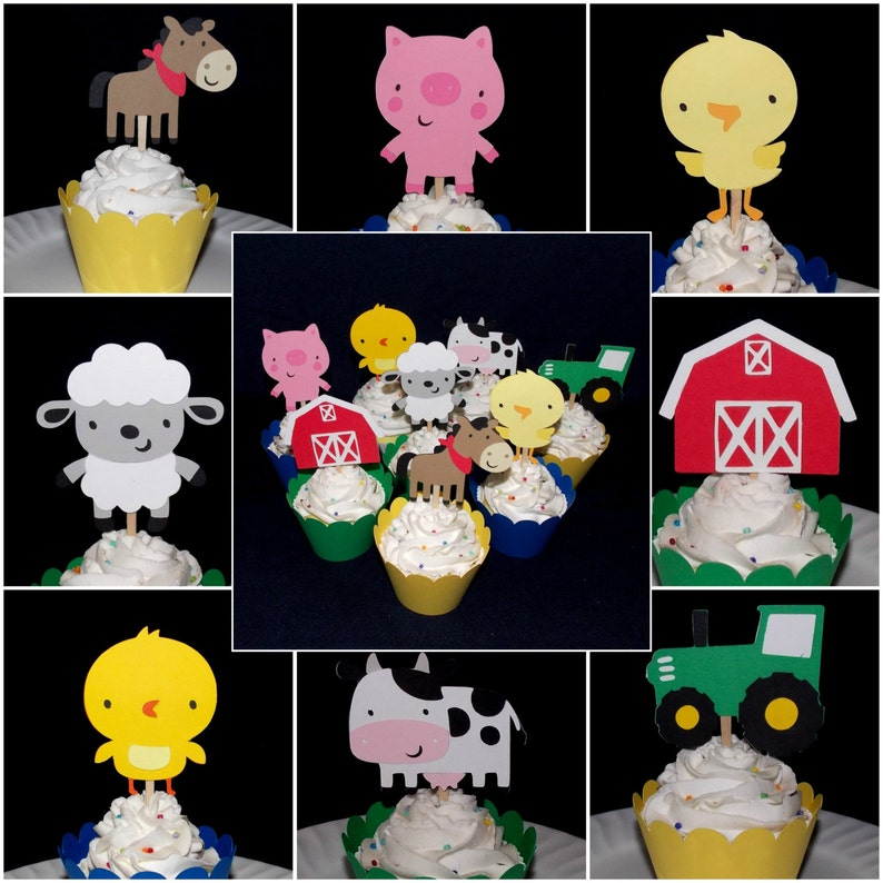 Farm Animal Cupcake Toppers Customize Number & Kind of food image 0