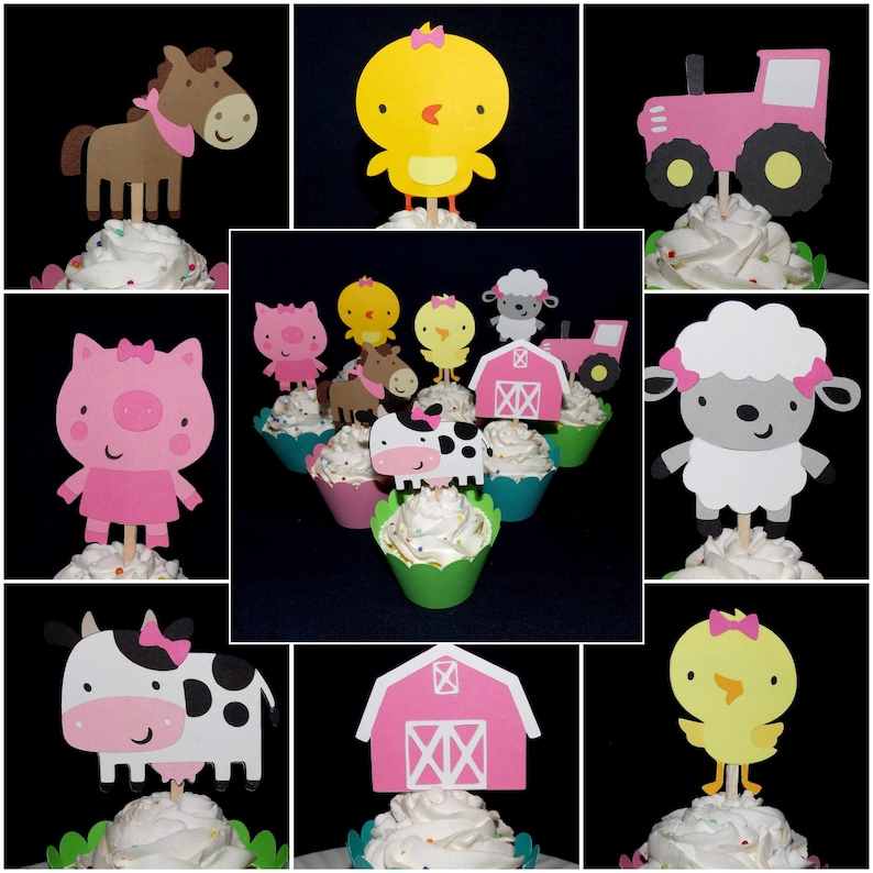 Pink Farm Cupcake Toppers Customize Number & Kind of food pick image 1
