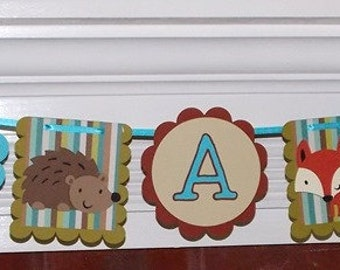 Forest Baby Banner Brown Blue & Green It's A Boy Baby Shower Banner READY TO SHIP Raccoon Squirrel Bunny Deer Hedgehog Fox Shower Decoration