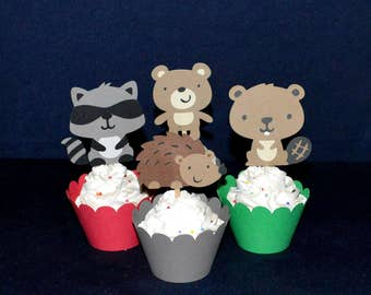 Enchanted Forest Cupcake Toppers Forest Birthday Party Food Pick Woodland Baby Shower Decorations Hedgehog Raccoon Bear Beaver READY to SHiP