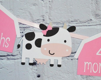 Cow First Year Photo Banner w/ Adjustable Panels for Girl Farm 1st Birthday Barnyard 12 month Milestones Picture Banner Holy Cow Party Decor