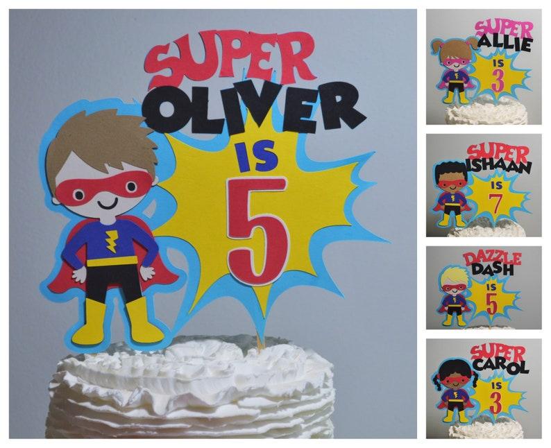 Super Hero Cake Topper Personalized Superhero Birthday Cake image 0