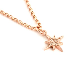 Dainty necklace, Rose gold star pendant necklace, bridesmaid gifT, Rose Gold Necklace, Christmas Gift, Gift for Her,
