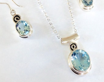 Blue topaz Jewelry, blue topaz earrings and necklace, blue topaz,blue jewelry, blue jewelry set, wife gift, topaz, march birthstone