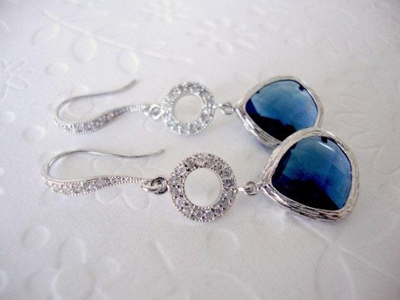 Sapphire drop earrings Wedding earings Blue sapphire | Etsy