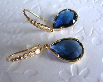 Blue Dangle Earrings, Blue Sapphire Earrings,September Birthstone, Blue Earrings, Gold Dangle earring, Gift for her, wife, mom, friend Gift,