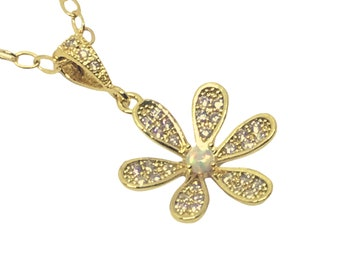 Unique Gold Flower Pendant necklace, Gold plated necklace with flower and opal pendant, Christmas gift for her, Gift for mom, wife