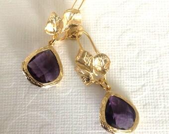 Dangle earrings drop earrings, Gold earrings geometric earrings, jewelry gift, amethyst earrings,Bridesmaid earrings, gift for her