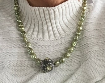 Mothers day Gift Pearl Jewelry Necklace, Sage freshwater pearls necklace, green freshwater pearl necklace for her, Wedding jewelry