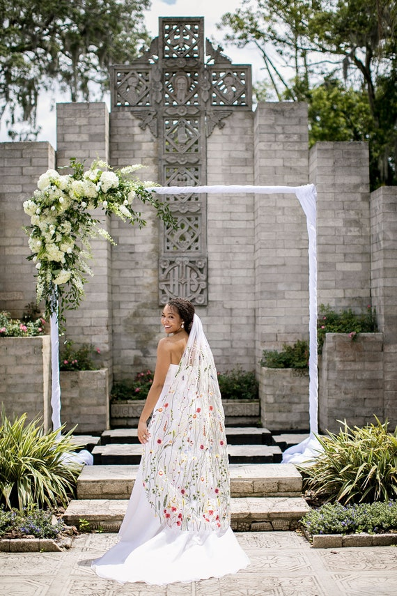 blue floral veil Flower veil boho veil something blue wild flower veil Floral veil secret garden veil embroidered veil Floral veil