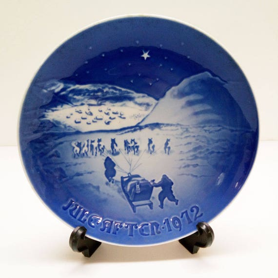 Christmas In Greenland.Blue Christmas In Greenland Plate Christmas Eve Juleaften 1972 B G Bing Grondahl Collector Plate Danish Wall Decor Dog Sled Star