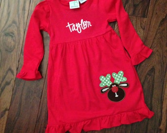 Personalized Red Christmas Dress Rudolph