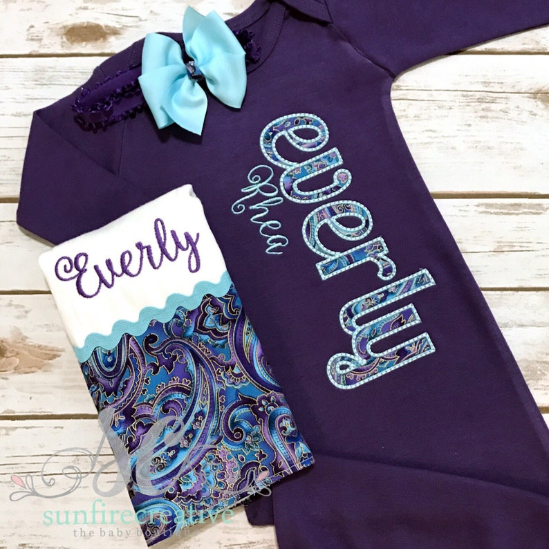 Bringing Baby Home Outfit Newborn Coming Home Outfit Newborn Sleeper Purple Gown Unique Baby Girl Clothes Girl Going Home Outfit