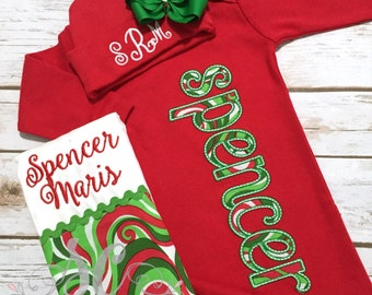 Girl Coming Home Outfit - Baby Girl Gown - Baby Girl Bring Home Outfit - Christmas Baby Gown - Sleeper With Bow - Baby Name Gown - Take Home