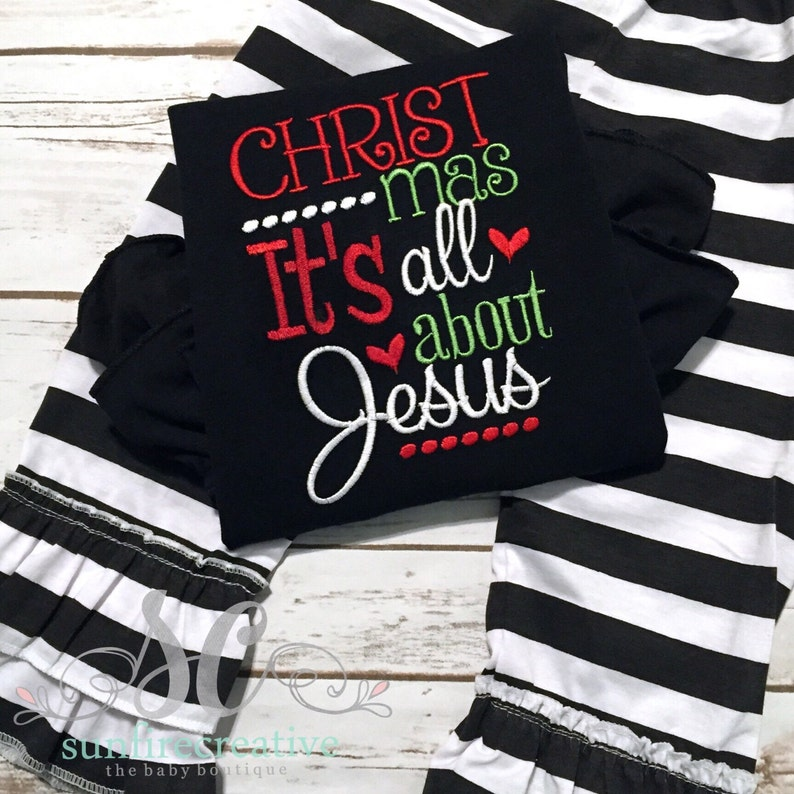 Girls Christmas Shirt Baby/'s First Christmas Outfit Religious Holiday Outfit Baby Girl Christmas Outfit