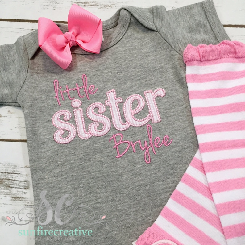 babaca063935 Personalized Little Sister Bodysuit Sibling Shirts Newborn | Etsy