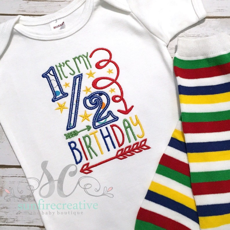 Half Birthday Shirt Baby Boy Bodysuit 6