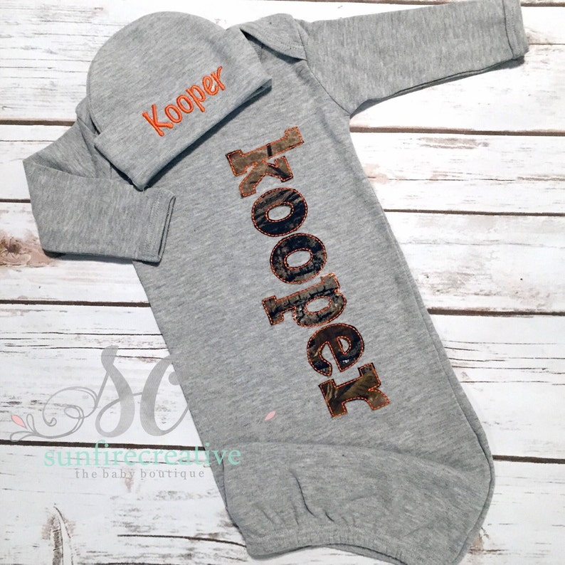 d93a7bf6a Camo Coming Home Outfit Baby Boy Gown Gray Orange Newborn | Etsy