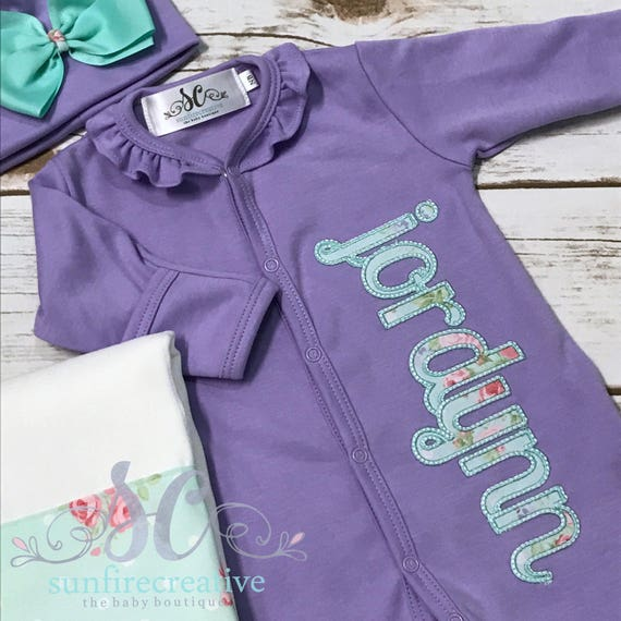 cca0849be99d Coming Home Outfit for Girl Pima Cotton Footed Sleeper