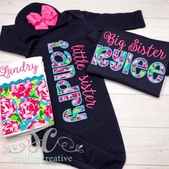 4d4f04f34524 Big Little Sister Sibling Shirt Gown Set NAVY & PINK Big | Etsy