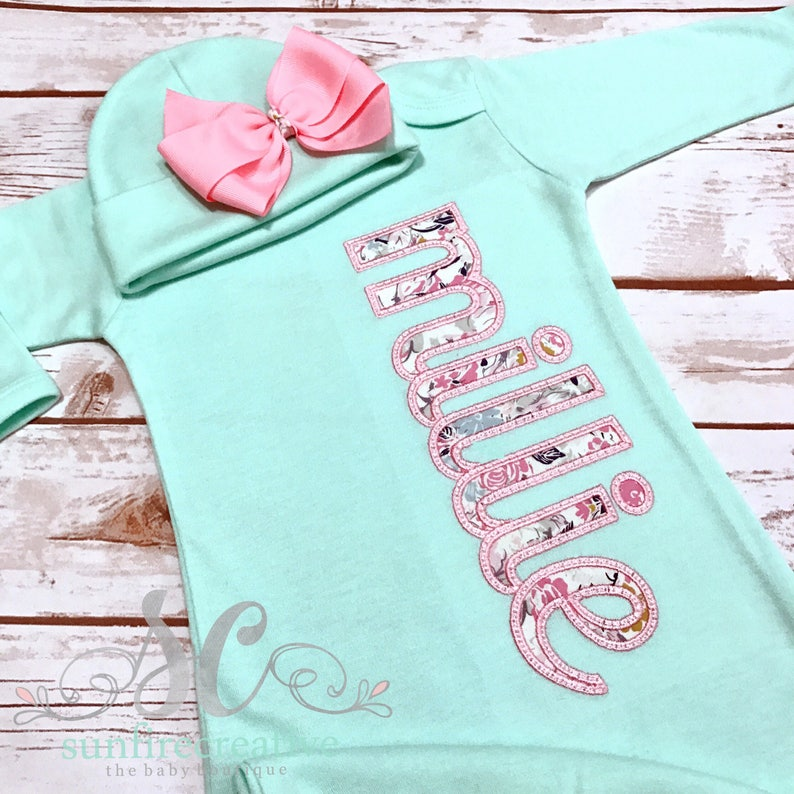 cd077d8968d1 Baby Girl Coming Home Outfit Pima Cotton Footed Sleeper