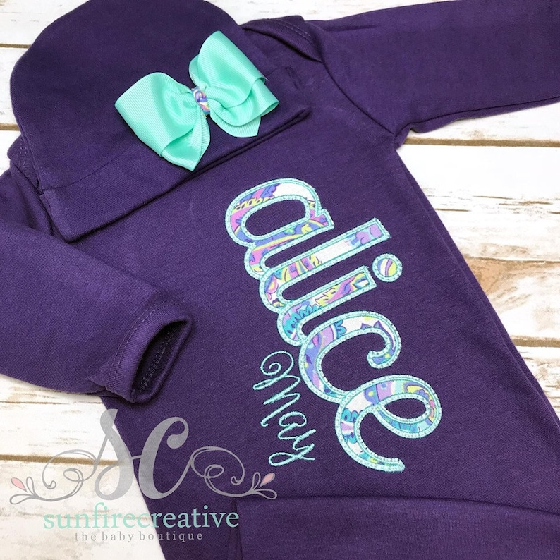 1029c7d14a61 Baby Gown with Name Purple Baby Girl Coming Home Outfit | Etsy