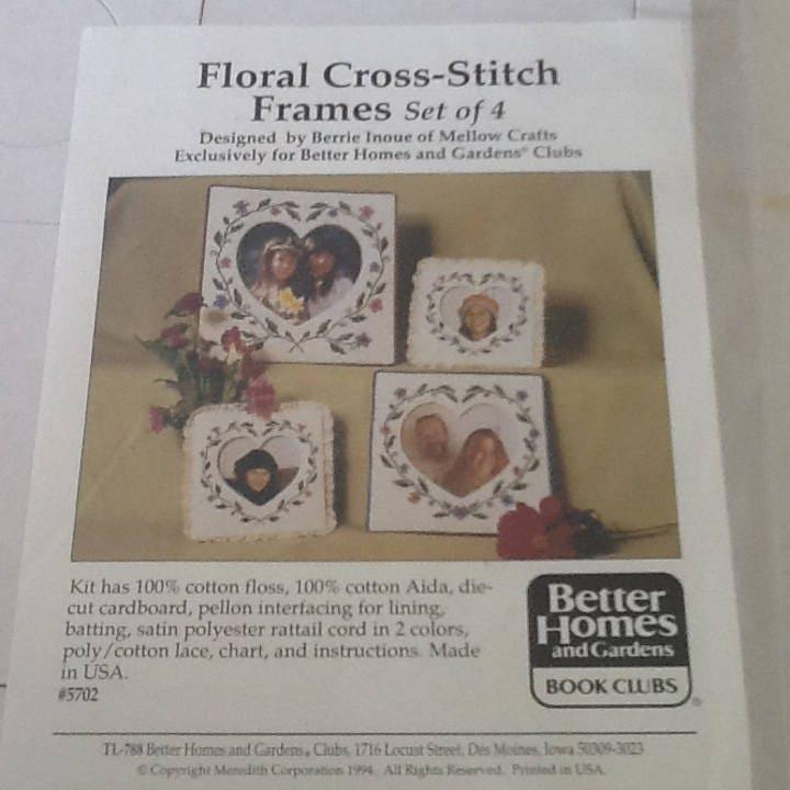 Vintage Kit: Floral Cross Stitch Frames | Etsy