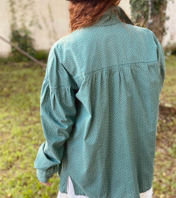 1970s Green Cotton Floral Prairie Blouse with Ful… - image 2