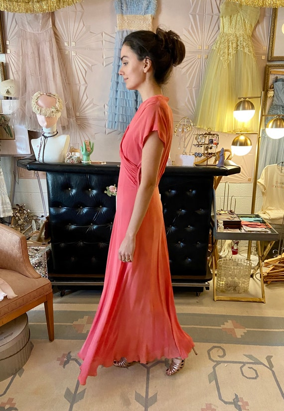 1930s Silk Crepe Coral Gown - image 4