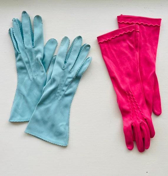 1950s Nylon Pink + Blue Gloves