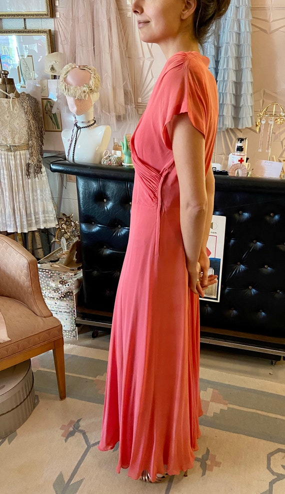 1930s Silk Crepe Coral Gown - image 6