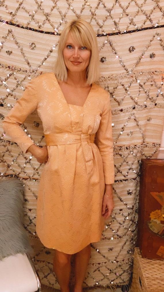 1960s Pink Silk Brocade Dress with Bow Belt