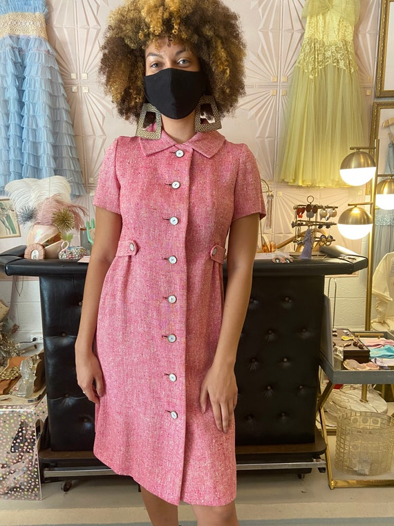 1960s Doncaster Pink Woven Dress