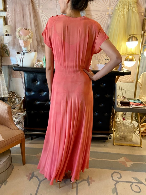 1930s Silk Crepe Coral Gown - image 2