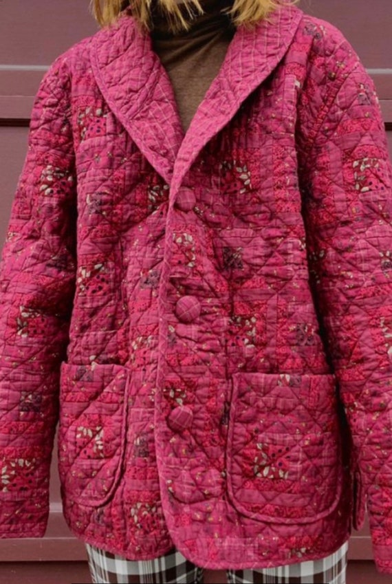 Handmade Raspberry Quilt Coat with Covered Buttons