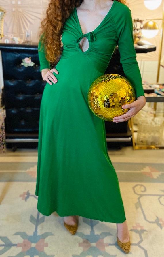 1970s Kelly Green Disco Maxi Dress with Sexy Keyho