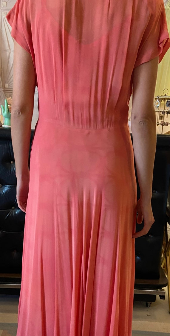 1930s Silk Crepe Coral Gown - image 7