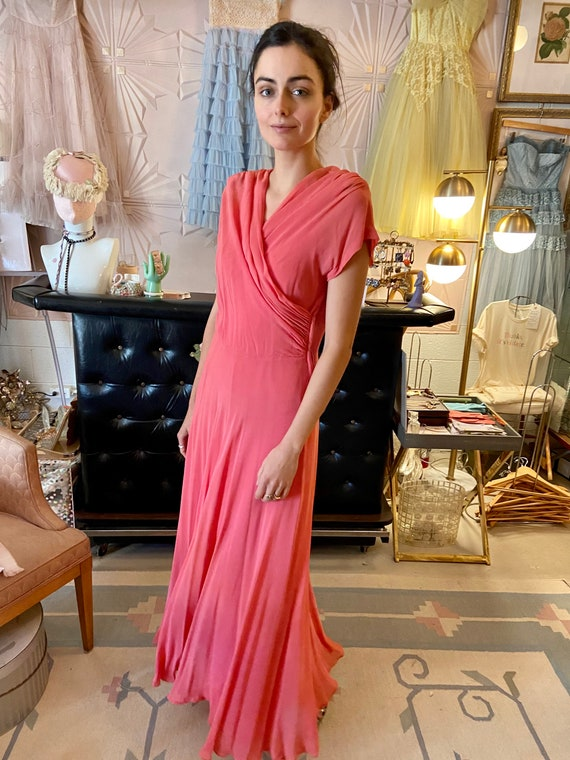 1930s Silk Crepe Coral Gown - image 1