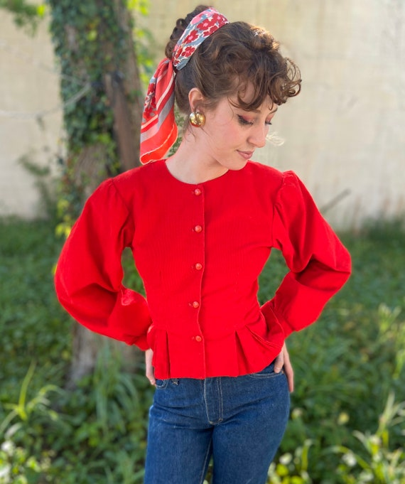 1970's Cherry Red Cord Top / Jacket with Statement