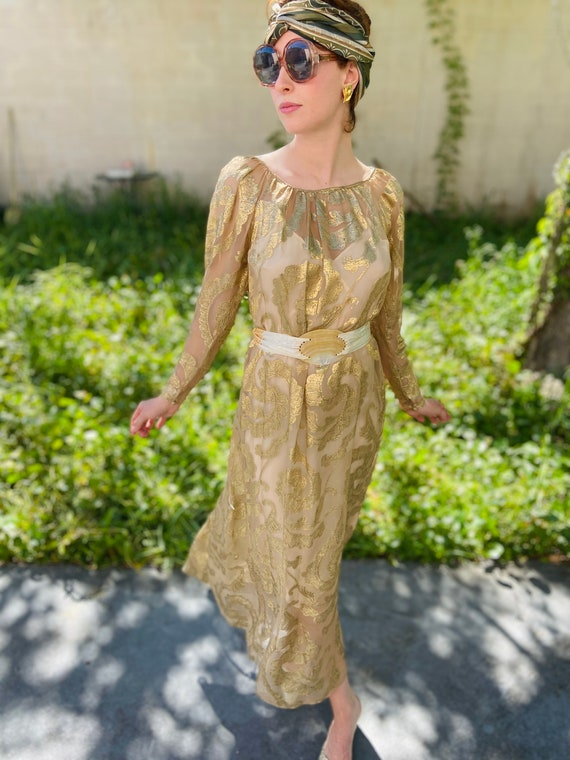 1960's Silk Gold Brocade Caftan