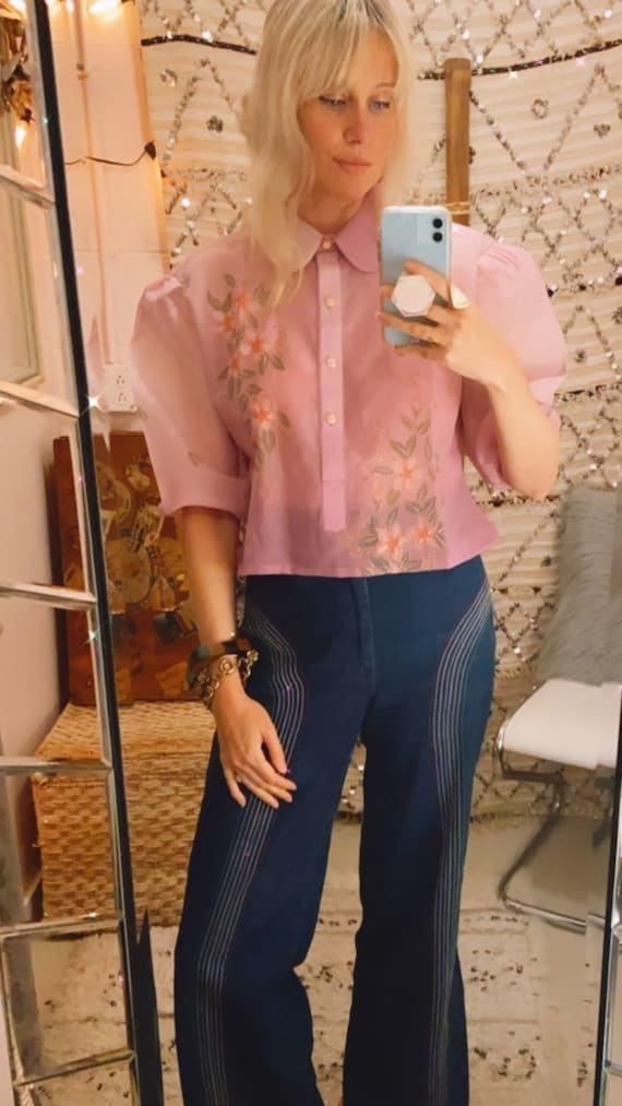 1980's Pink Ombré Cropped Blouse with Gold Metalli