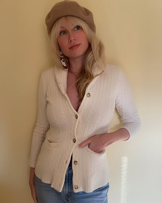 Ralph Lauren Cream Cashmere Cable Knit Cardigan