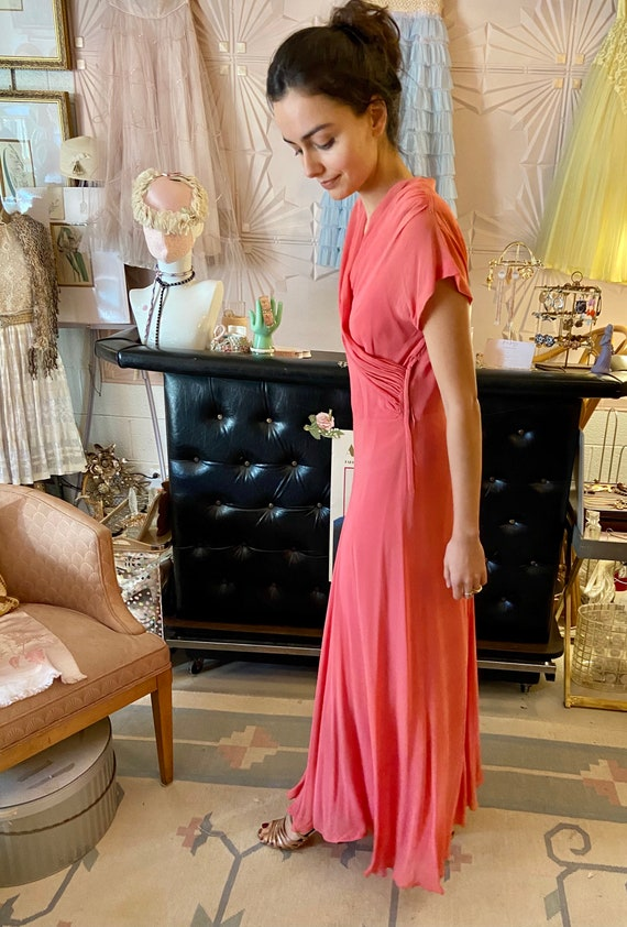 1930s Silk Crepe Coral Gown - image 10