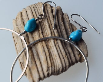 Large Sterling Hoop Earrings Suspended from Nuggets of Kingman Turquoise, American Turquoise, Argentium Sterling Silver